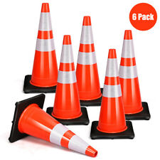 Costway 6Pcs PVC Traffic Safety Cones 28'' Fluorescent Reflective Road Parking