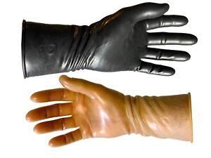 Latex Gloves Gummihandschuhe Schwarz Black Transparent  Fetish Rubber 28cm
