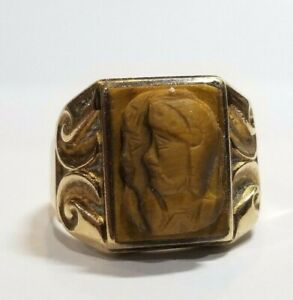 10k Yellow Gold Tigers Eye Roman Soldier Men's 10 Ring