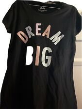 "Justice Girl's size 18 PLUS Black T-shirt ""DREAM BIG"" COLORFUL LETTERS NWT PLUS"