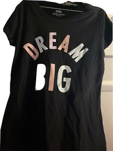 """Justice Girl's size 18/20 Black T-shirt """"DREAM BIG"""" COLORFUL LETTERS NWT PLUS"""