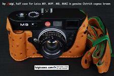 LUIGI'S NEW HALF CASE X LEICA:M-E,M9P,M9 MM,M8-2,M8,GENUINE COGNAC BROWN OSTRICH