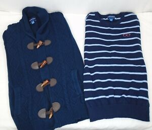 Lot 2 Andy & Evan Boys Sweaters Striped Pullover + Fisherman Cardigan Blue 11/12