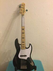 Vintage Five String Jazz Rock Bass Guitar. VJ75 MBK (WICKED 5st!)