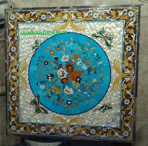"""30"""" dining center marble table top inlay malachite moap lapis decor h3"""