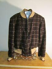 1950's wool window pane black/white reversible zipper jacket