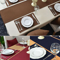 Modern Cotton Febric Table Runner Plain Dining Tablecloth Cover Party Home Decor