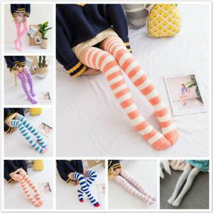 Japanese Style Sleep Striped Dot Printed Long Thigh Stockings Winter Warm SK
