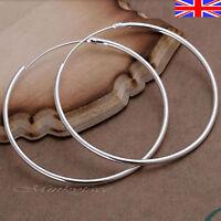925 Silver Sterling plt Hoop Earrings Sleeper Large Hooped 50mm 5cm Gift Bag