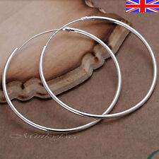 Silver 925 Sterling Hoop Earrings Sleeper Large Hooped 50mm 5cm Gift