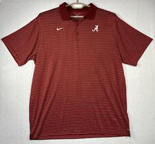 NIKE Alabama Crimson Tide Polo Golf Shirt Men's 2XL Striped Dri-Fit Red & White