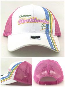 Chicago Blackhawks Girl New Reebok Ladies Women Mesh Pink White Era Hat Cap