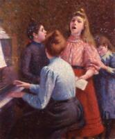 "high quality oil painting handpainted on canvas ""singing lesson """