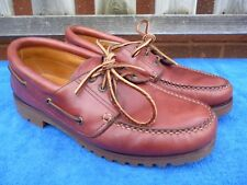 Clarks Mens Brown Leather Lace Up Shoes Size 11 UK , Deck Style Rugged Sole.