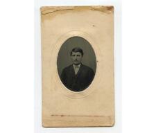 Tintype Studio Portrait Man W/ Mustache/Bow Tie, 1/16 Plate, Period Mat