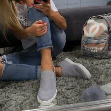 Ladies Grey Trainer Sneaker Diamante Casual Wedge Mid Heel Slip On Size 3