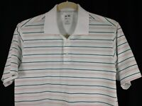 Adidas Men's White Gray Pink Stripe Climacool Golf Short Sleeve Polo Shirt M