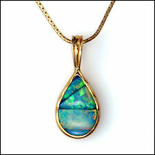 Unique 14kt Yellow Gold Lightning Ridge Black Natural Opal Inlay Pendant