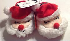 Santa Claus Slippers Toddler Size 3 Christmas Unisex Red Plush Non Skid Sole