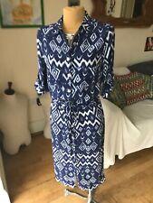 ARTIGIANO ikat blue midi shirt dress adjustable sleeves 8_10 36 Us 4 BNWNT