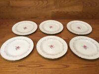 "6 Royal Swirl Fine China Of Japan - 7 1/2"" Salad Plates - Pink Rose"