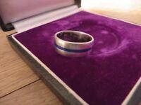 Schöner 925 Silber Ring Mit Blauen Streifen Designer Schlicht Retro Klassiker