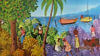 Original Framed Folk Art Naif Haitian Painting Signed Caribbean Scene