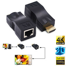 2pack HDMI To RJ45 Network Cable Extender Converter Repeater Over CAT-5e CAT6