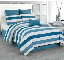 7-Piece King Size Blue White Strip Polyester Comforter Set Bed Sheet Pillow Case