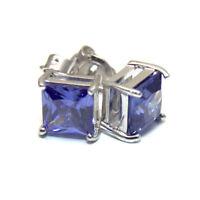 Tanzanite Princess Cut 2.5ct Diamond-Unique Studs Sterling Silver