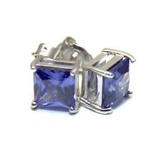 Tanzanite Princess Cut 2.5ct Diamond-Unique Studs Sterling Silver