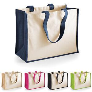 Westford Mill Plain Jute Classic Cotton Canvas Reusable Tote Shopping Bag