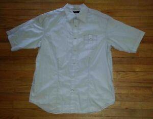 Sean John Shirt Snap-up S/S XXL Club Shirt Solid Lt Gray Pink Stitching c1486