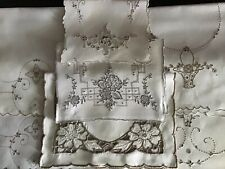COLLECTION 7 VINTAGE LINEN EMBROIDERED MADEIRA TRAY CLOTHS/TABLE CENTRE PIECES