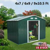 Outdoor Garden Storage Shed Metal Tool House Backyard Lawn Sliding Door 3 Size
