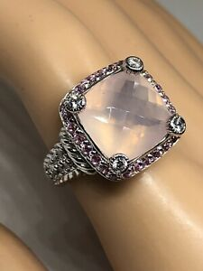 Judith Ripka Rose Quartz With Pink & Clear Diamonique 925 Sterling Ring 6.75