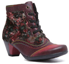 Rieker Womens Victorian Brogue Heeled Ankle Boots In Red Sizes UK 3 - 8