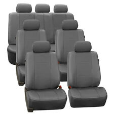 Gray Deluxe Perforated Leatherette 7Seater 3 Row Set Split Bench Seat Covers