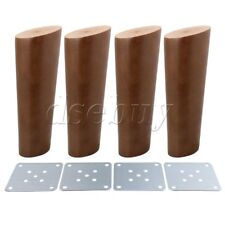 4Pieces 15cm Height Oblique Tapered Wood Furniture Legs Walnut Color