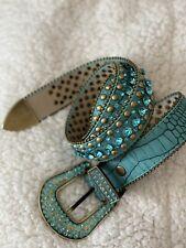 Womens Belt Turquoise  Aqua Jewel Studded Round Clear Jewels
