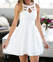 Womens Sleeveless Mini Dress Summer Boho Back Lace Evening Skater Party Dress VP
