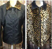 Women's Rainforest Cafe Reversible Leopard Print Black Jacket