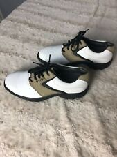 Foot joy mens sierra treks golf shoes 8.5m white and brown exc cond 58946