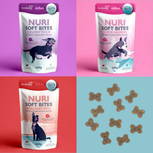 Doodlebone NURI SOFT BITES Dog Treats Biscuits Omega 3 Beef Duck Salmon 100g