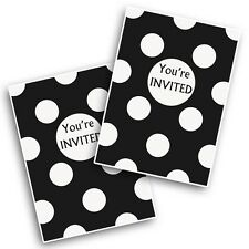 8 Black White Polka Dot Spot Style Party Invitations Invites plus Envelopes