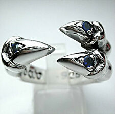 BLUE SAPPHIRE HAWK EAGLE CLAW SOLID 925 STERLING SILVER GOTHIC RING Sz 13 MENS
