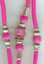 CUSTOM BEADED DOG SHOW LEAD LEASH-SNAPLEAD/hot pink