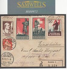 MS972 1917 SWITZERLAND SEMI-OFFICIAL MILITARY Unusual Registered Soldiers Cover