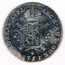 1/8 DUCATON 1751 Maria Theresa  Austrian Netherlands Antwerp    Ag Silver