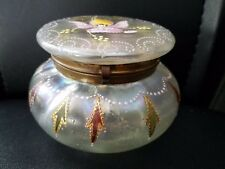 "Antique Vintage Art Glass Hand painted Trinket Box Lidded Brass Hinged 3 1/4""h"